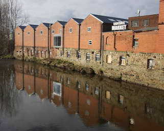 Radcliffe Market from the River Irwell, Radcliffe