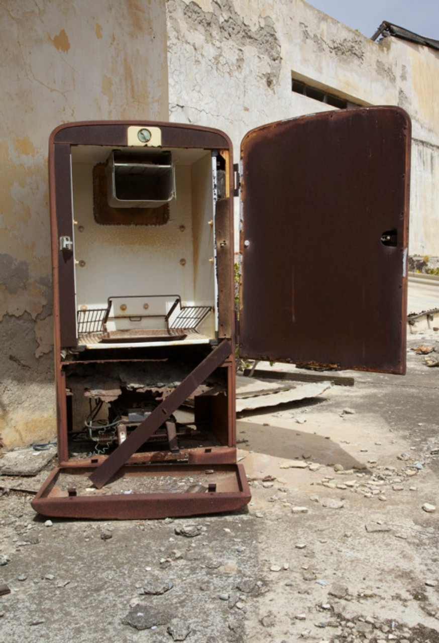 8. Rusting 1970s fridge on a rooftop terrace in Varosha