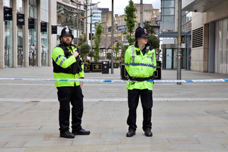 Policemen, New Cathedral Street, the morning after the Manchester Arena attack, 23 May 2017