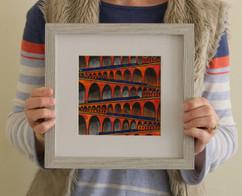 Viaducts (framed), 2020, 20x20cm