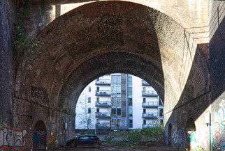 Car park under a railway viaduct, Castlefield
