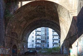 Car park under a railway viaduct, Castlefield