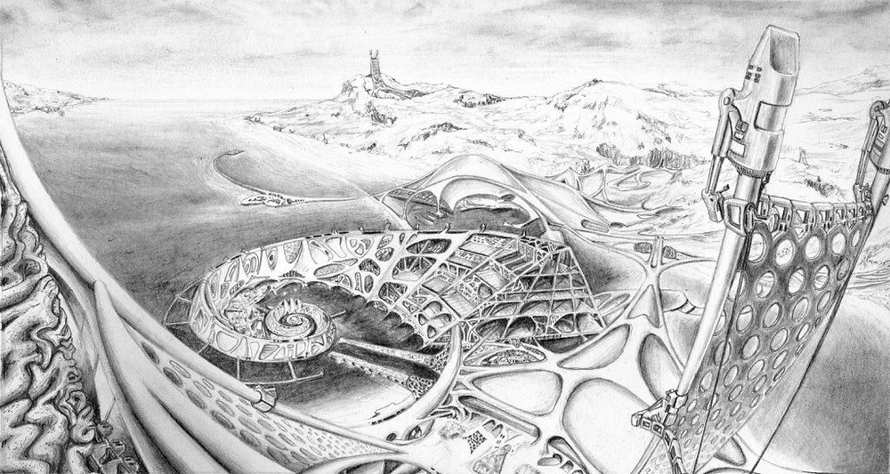 Paul Cureton's drawing of Autopia Ampere (after Newton Fallis's 1970 sketch)