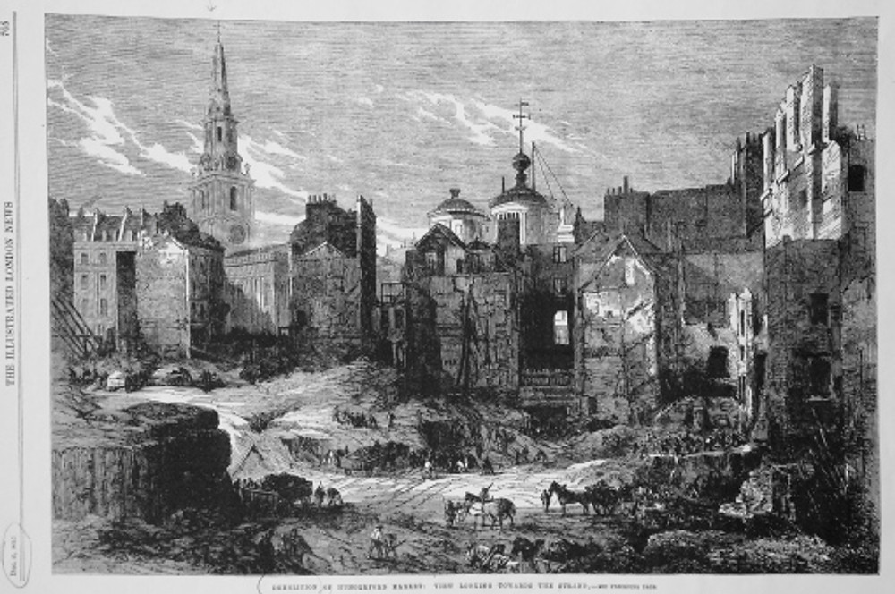 'Demolition of Hungerford Market', Illustrated London News, 27 December 1862, p. 705.