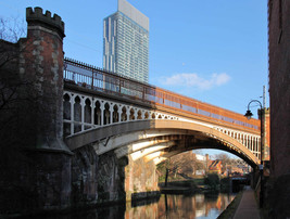 Cast-iron skew railway viaduct over the Rochdale Canal, Castlefield