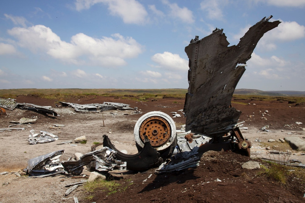 Remains of the aircraft at Higher Shelf Stones