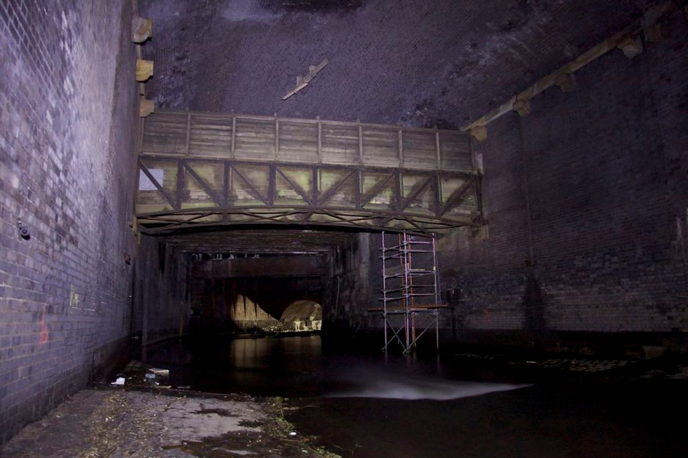Former cattle bridge spanning the Irk culvert, Manchester, now used as a utility tunnel