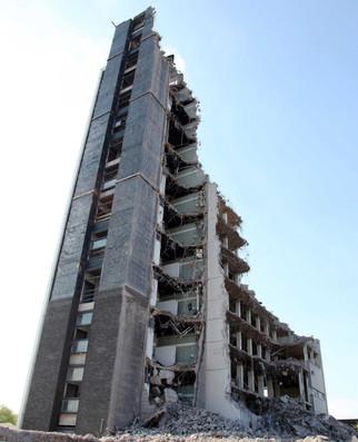 Demolition of an office block, Clowes Street, Gorton