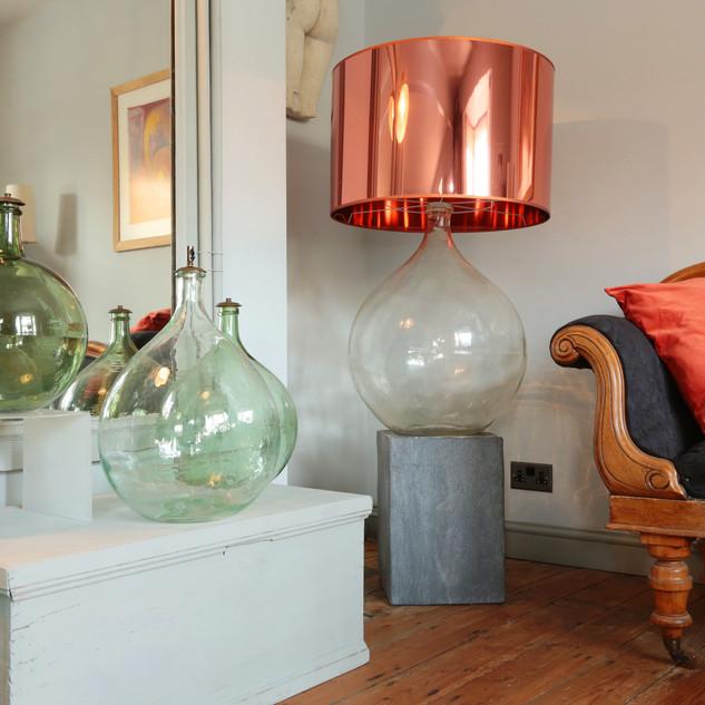 Eau de Vie lamp base with copper foil lampshade