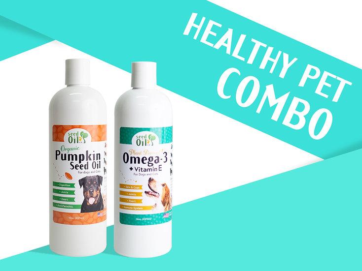 (NEW!) Healthy Pet Combo   16oz. Pumpkin Seed Oil + 16oz. Plant-Based Omega-3