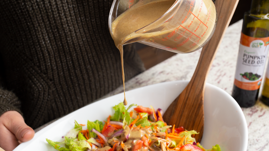Balsamic Salad Dressing with Pumpkin Seed Oil.