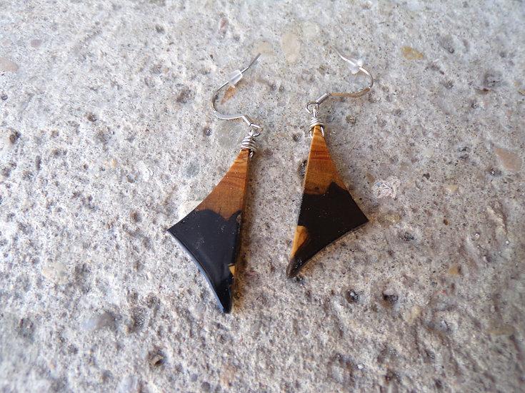 boucles d'oreilles en bois d'olivier et résine noir