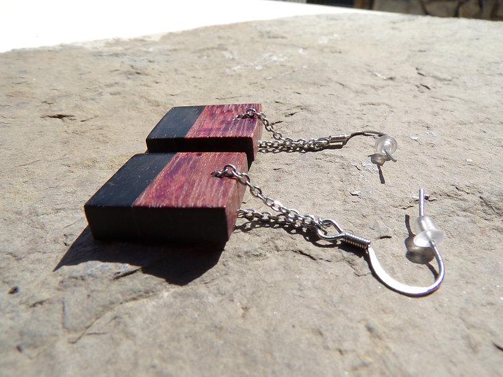 boucle d'oreilles pendantes en bois d'amarante et ébène noir