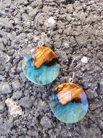 boucles d'oreilles ronde en olivier et résine avec inclusions