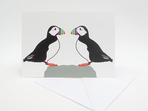 Puffins in Love Card