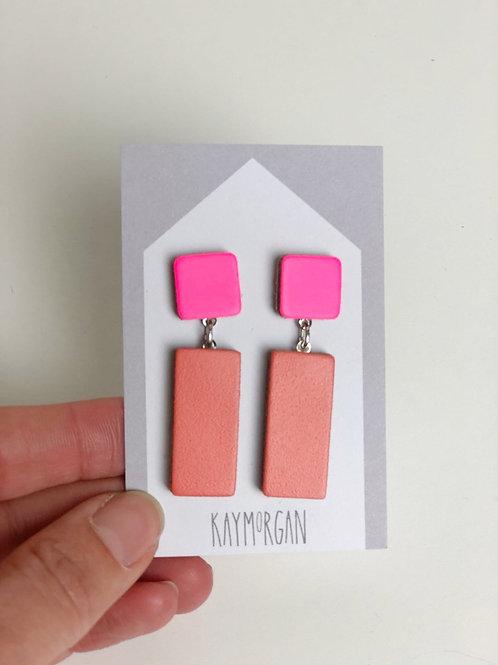 Block Stud Earrings - Pink/Orange
