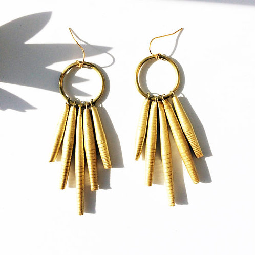 Circle Dangle handmade paper earrings