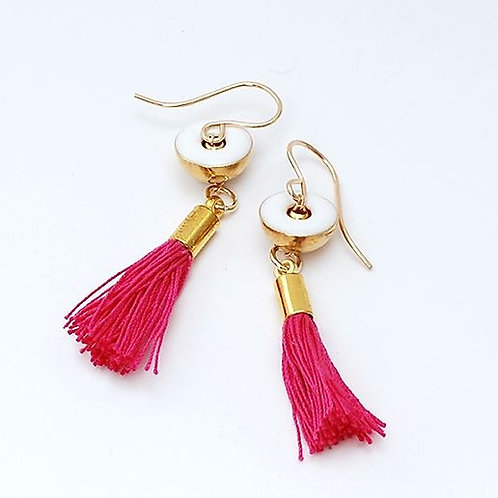 Brass Earrings with Pink tassel & white charm