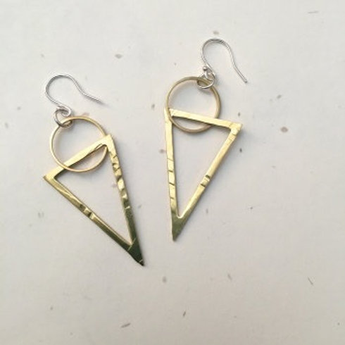 Circle & Triangle Brass Earrings