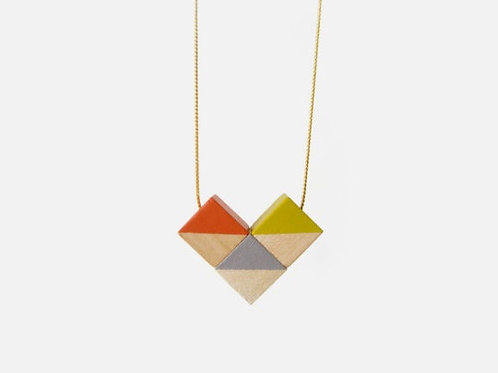 Flag/heart Necklace - Orange