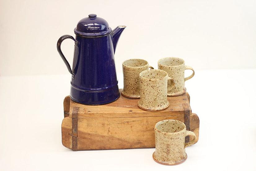 Set of four stoneware mugs