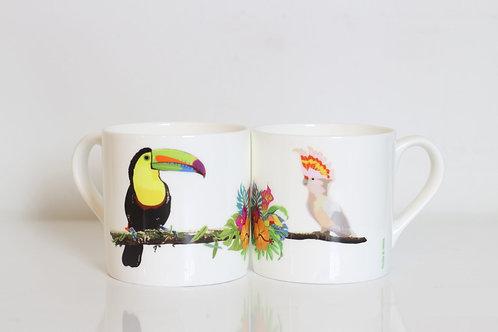 Toucan and Cockatoo Bone China Mug