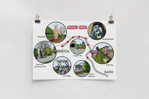 Bristol to Bath Digital A4 Print