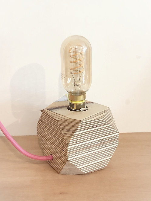 Geo Wooden lamp base with Filament Bulb