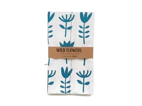 Wild flowers tea towel – Blue