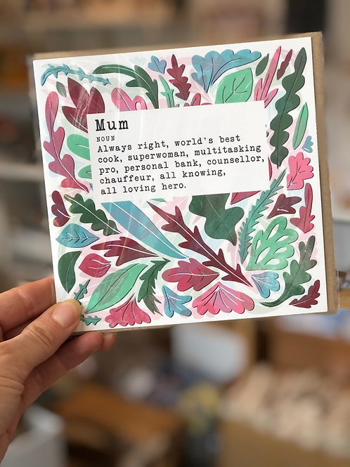 Definition of Mum greetings card