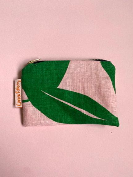 Screen Printed Linen Purse - Green