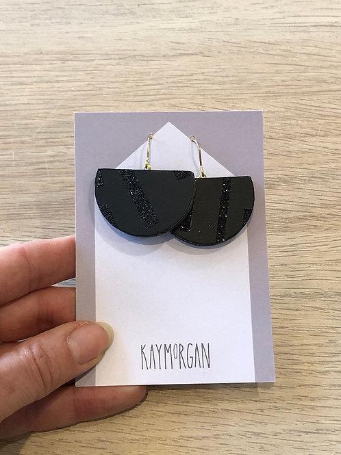 Semi Circle Earrings - Black/Black Glitter