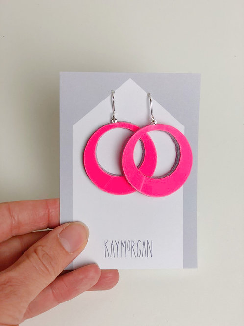 Medium Hoop Earrings - Hot Pink