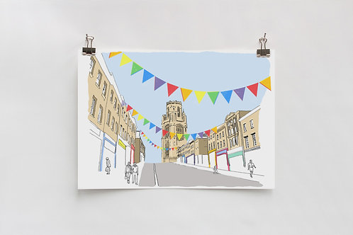 Park Street and the Wills Building Digital A4 Print