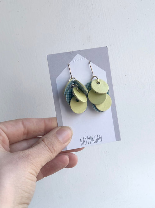 Green & Check Punch Earrings