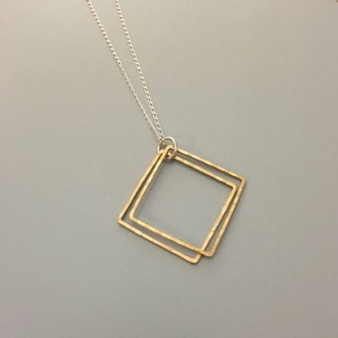 Brass Double Square Necklace