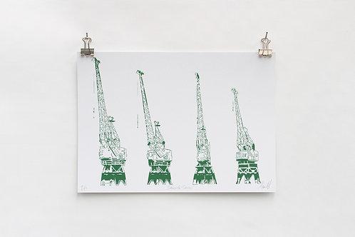 Dockside Cranes Digital A4 Print