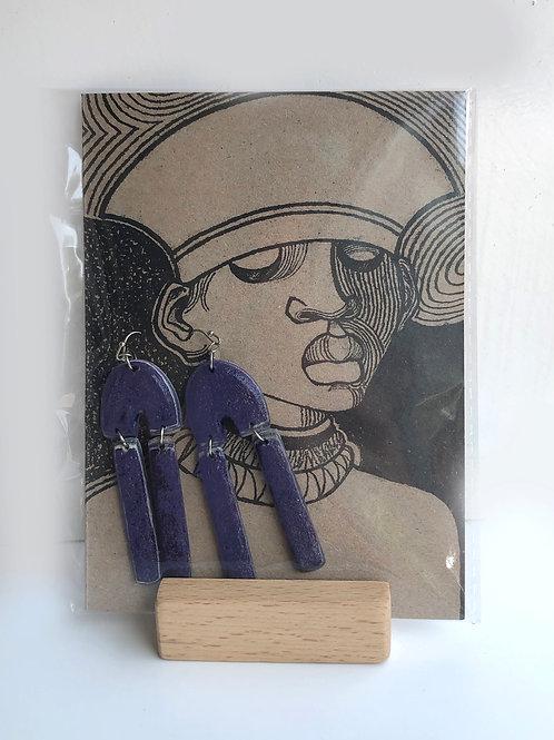 Handmade paper earrings - Purple Pulp