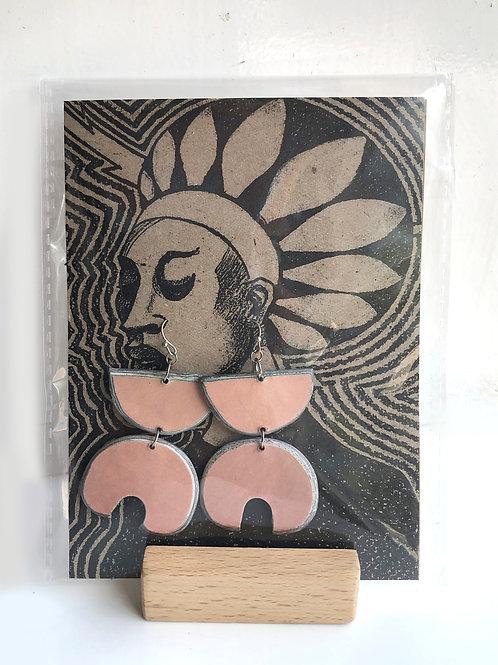 Handmade paper earrings - Peach