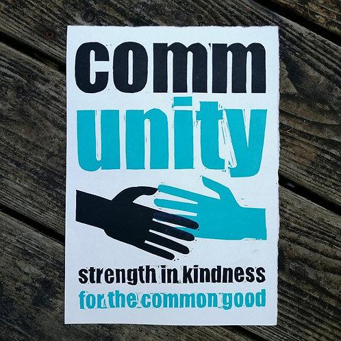 A4 Community  lino print