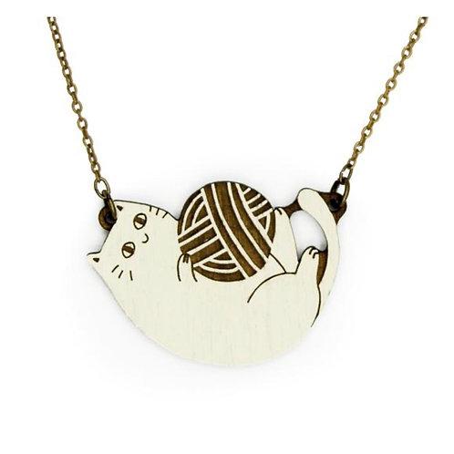 Playful Cat Cream Necklace
