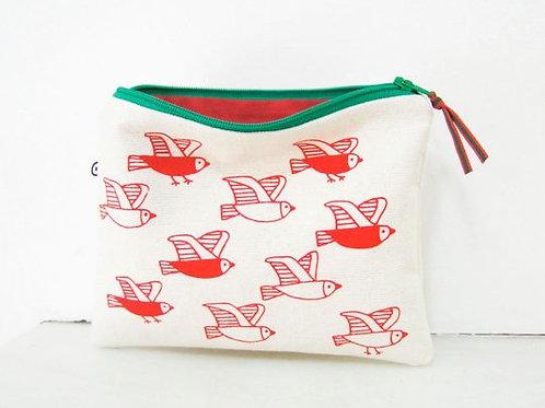 Birds Zipper Pouch - Red