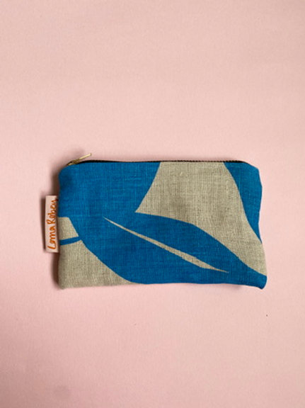 Screen Printed Linen Purse - Blue