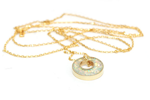 Glitter and Brass Necklace in Irridescent