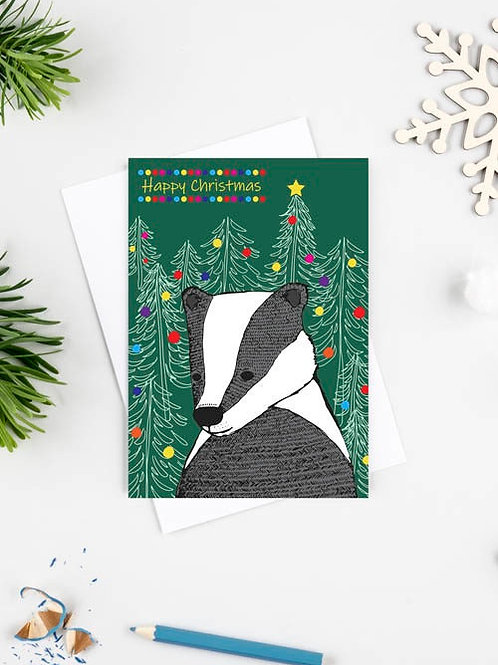 Merry Christmas Badger Card