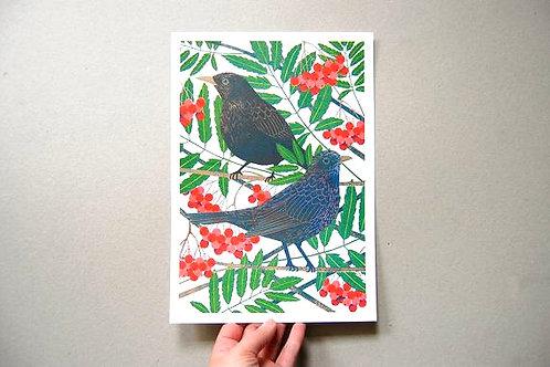 Blackbirds Riso Print - A4