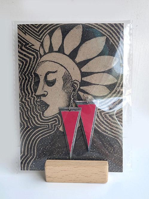 Handmade paper earrings - Hot Pink Triangles