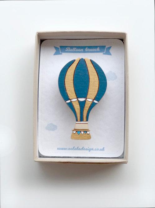Blue Stripe Balloon Brooch