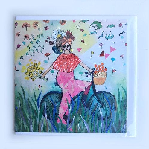 Girl on a bike Card