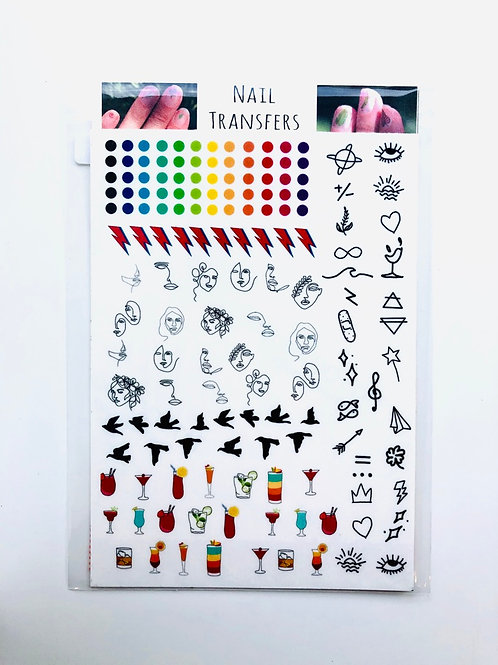 Pack of mixed design Nail Transfers